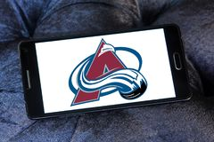 Colorado Avalanche ice hockey team logo. Logo of Colorado Avalanche ice hockey team on samsung mobile. The Colorado Avalanche are a professional ice hockey team royalty free stock images