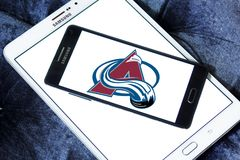 Colorado Avalanche ice hockey team logo. Logo of Colorado Avalanche ice hockey team on samsung mobile. The Colorado Avalanche are a professional ice hockey team royalty free stock photo
