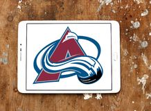 Colorado Avalanche ice hockey team logo. Logo of Colorado Avalanche ice hockey team on samsung tablet. The Colorado Avalanche are a professional ice hockey team royalty free stock photo