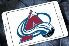 Colorado Avalanche ice hockey team logo. Logo of Colorado Avalanche ice hockey team on samsung tablet. The Colorado Avalanche are a professional ice hockey team royalty free stock photography