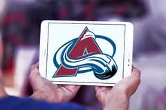 Colorado Avalanche ice hockey team logo. Logo of Colorado Avalanche ice hockey team on samsung tablet. The Colorado Avalanche are a professional ice hockey team stock images
