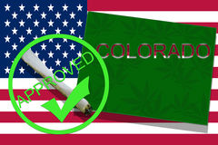 Colorado on cannabis background. Drug policy. Legalization of marijuana on USA flag, Royalty Free Stock Photography