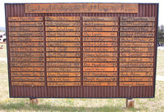 Colorado cattle brands. Public display sign showing cattle brands for the Central Colorado Cattlemen's Association in Fairplay, Park County, Colorado, USA Royalty Free Stock Photography