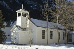Colorado church. White church in the snow of Colorado's high country Royalty Free Stock Photography