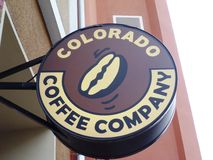 Colorado Coffee Company Logo. Sign outside cafe royalty free stock image