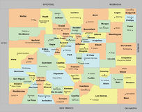 Colorado county map. With 64 counties, county seats, and neighboring states/country. Each county and neighboring states/country is an individual object Royalty Free Stock Photos