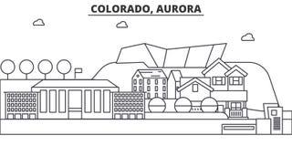 Colorado, de illustratie van de de lijnhorizon van de Dageraadarchitectuur Lineaire vectorcityscape met beroemde oriëntatiepunten Stock Afbeeldingen