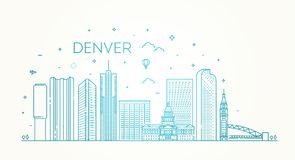 Colorado, Denver Orizzonte della città Architettura, costruzioni, paesaggio, panorama, punti di riferimento, icone Fotografia Stock