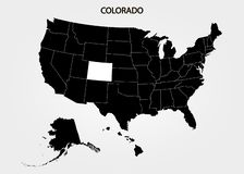 colorado Estados de território de América no fundo cinzento Estado separado Ilustração do vetor