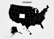 colorado Estados del territorio de América en fondo gris Estado separado Ilustración del vector