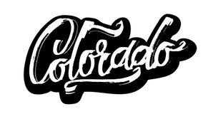 colorado etikett Modern kalligrafihandbokstäver för serigrafitryck Royaltyfri Foto