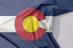 Colorado fabric flag crepe and crease with white space, The states of America. Colorado fabric flag crepe and crease with white space, The states of America royalty free stock photos