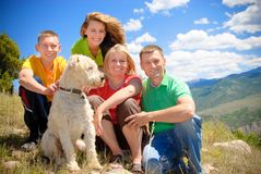 Colorado family. With dog on a mountain trip Stock Images