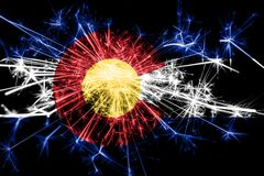 Colorado fireworks sparkling flag. New Year 2019 and Christmas party concept. Colorado fireworks sparkling flag. New Year 2019 and Christmas party concept royalty free stock images