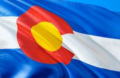 Colorado flag. 3D Waving USA state flag design. The national US symbol of Colorado state, 3D rendering. National colors and royalty free stock image