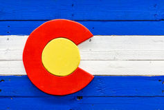 Colorado flag. Handmade flag of Colorado state from wood and painted royalty free stock image