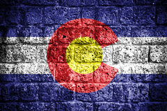 Colorado flag. On old brick wall stock photo