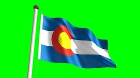 Colorado flag. Seamless  green screen stock video footage