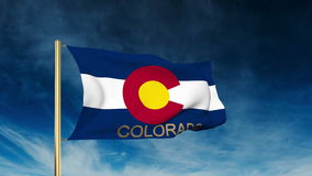 Colorado flag slider style with title. Waving in. Colorado flag slider style with title. Waving with cloud background animation stock video
