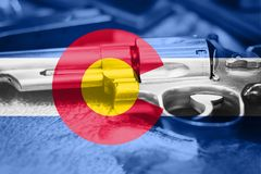 Colorado flag U.S. state Gun Control USA. United States. Gun Laws royalty free stock photos