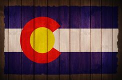 Colorado Flag on Wood. Colorado Flag Old Wood Background stock photography