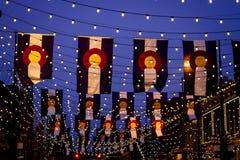 Colorado flaggor på den Larimer fyrkanten Denver Royaltyfria Bilder