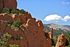 Colorado Geology. Red Rocks of Garden of the Gods - Colorado Springs, Colorado U.S.A. Horizontal Photography Royalty Free Stock Image
