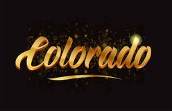 Goldenlogotype copy 69. Colorado gold word text with sparkle and glitter background suitable for card, brochure or typography logo design Royalty Free Stock Image