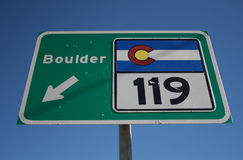 Colorado highway 119. To Boulder sign Royalty Free Stock Photography