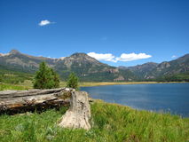 Fallen log by a Colorado lake and mountains. Stock Photo