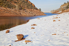 Colorado lake in winter scenery Royalty Free Stock Photo
