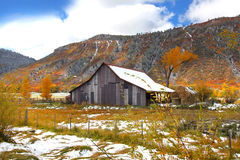 Colorado in late autumn. Old barn in Rocky mountains during late autumn time royalty free stock photography
