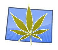 Colorado Mary J. Marijuana leaf super imposed over the great state of Colorado, United States stock illustration