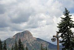 Colorado mountain peak with street lantern entry Stock Photos