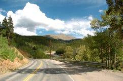 Colorado Mountain Road. Moutain road in the Colorado Rockies Stock Photos