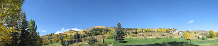 Colorado Mountains 2. Panoramic view of a golf course nestled within the mountains of Colorado Stock Photo