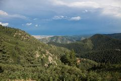 Colorado mountains as a storm travels north stock photography