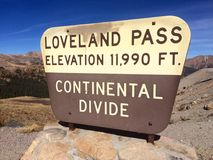 Colorado Mountains Continental Divide. Colorado, historic sign, mountains, skiing, hiking Royalty Free Stock Photos