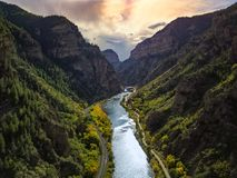 Colorado Mountains and friver. Colorado mountains with a river flowing through it royalty free stock images