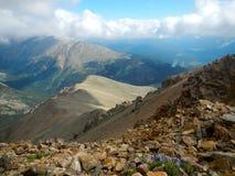 Colorado Mountains. Mt Elbert looking down the ridge line toward Mt Massive, Colorado Stock Image