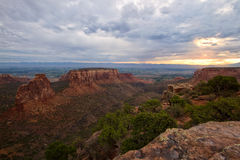 Colorado National Monument, Colorado. Storm clouds over the Colorado National Monument at sunrise in the city of Grand Junction, Colorado Stock Images