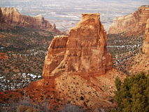 Colorado National Monument Mon. Winter view of the Colorado National Monument monolith in Grand Junction Colorado with the valley in the background stock photography