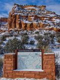 Map at West Entrance Colorado Natl Monument. Colorado National Monument offers spectacular views of mountains and rock formations.  Beautiful in Winter.  Near Stock Images