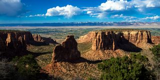 Monument Valley is an immense eroded naturla formation in Colorado National Monument stock images
