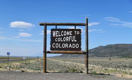 Colorado - New Mexico: Welcome Sign stock photography