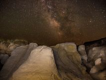 Colorado Paint Mines under the stars. Milky Way Galaxy and stars above the Indian Paint Mines in central Colorado Stock Photo