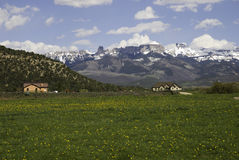 Colorado Peaks. Mountain range above a green valley with new homes near Ridgway, Colorado Royalty Free Stock Photography