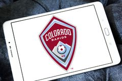 Colorado Rapids Soccer Club logo. Logo of Colorado Rapids Soccer Club on samsung tablet. The Colorado Rapids are an American professional men`s soccer team royalty free stock images