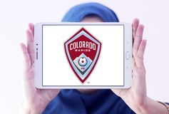 Colorado Rapids Soccer Club logo. Logo of Colorado Rapids Soccer Club on samsung tablet holded by arab muslim woman. The Colorado Rapids are an American stock photo