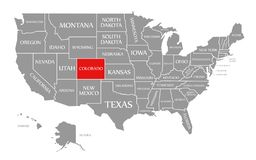 Free Colorado Red Highlighted In Map Of The United States Of America Royalty Free Stock Photography - 166285797